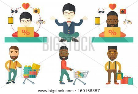 Young man using laptop for online shopping. Happy man doing online shopping. Man buying in online shop. Man making online order. Set of vector flat design illustrations isolated on white background.