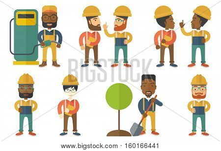 Engineer working on digital tablet. Engineer in hard hat working on tablet computer. Young engineer using tablet computer at work. Set of vector flat design illustrations isolated on white background.