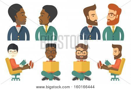 Businessmen discussing business plan. Smiling businessmen discussing project at meeting. Business discussion and teamwork concept. Set of vector flat design illustrations isolated on white background.