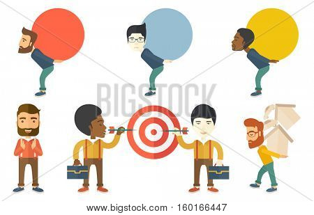 Businessman carrying a big stone symbolizing business debt. Businessman carrying debt payments for a car and a house. Debt concept. Set of vector flat design illustrations isolated on white background