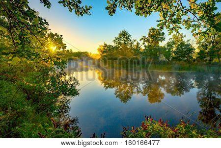 Nice morning scene on river in sunny time