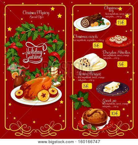 Christmas dinner restaurant menu. Xmas turkey, wine, chocolate cake, greek sweet bread, pie, fruit stollen and spanish nougat with holly berry wreath and candle, framed by vignette with stars
