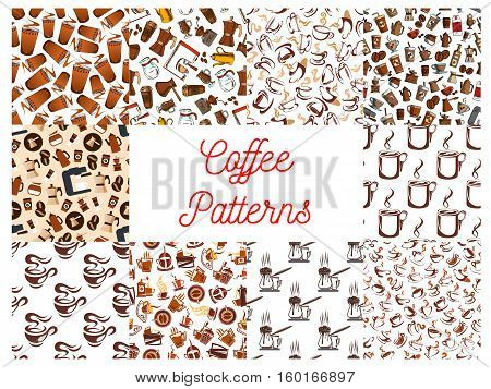 Coffee cups and coffee makers seamless patterns. Background wallpapers with vector icons of vintage coffee mill, turkish cezve, espresso machine, retro coffee grinder, moka pot, macchinetta, milk pack, coffee beans, nut syrup