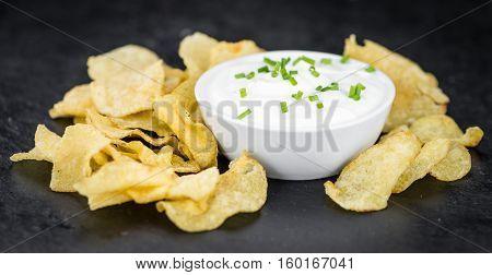 Slate Slab With Potato Chips (sour Cream Taste)