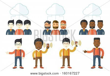 Three smiling businessmen connected to one cloud. Business people using cloud computing technology. Concept of cloud computing technology. Set of vector illustrations isolated on white background.