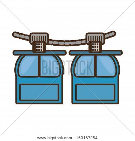 two rope way cabine gondola vacation travel vector illustration eps 10