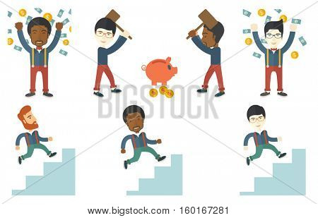 Young businessman climbing up the ladder of business career. Businessman walking up the career ladder. Concept of business career. Set of vector flat design illustrations isolated on white background.