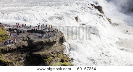 Iceland - July 26, 2016: Icelandic Waterfall Gullfoss