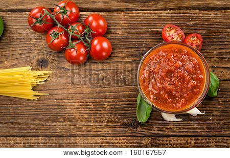 Tomato Sauce (selective Focus) On Vintage Wooden Background