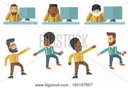 Stressed male office worker. Overworked businessman feeling stress from work. Stressful employee sitting at workplace. Stress at work concept. Set of vector illustrations isolated on white background.