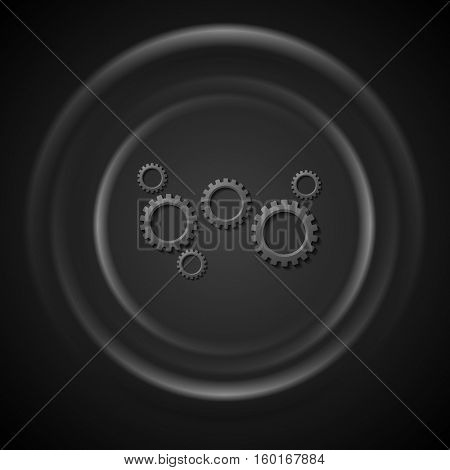 Black gears mechanism and smooth circles technology abstract vector background