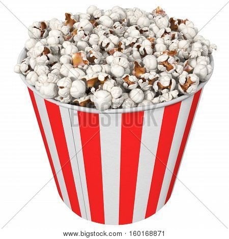 big striped cup with popcorn isolated on white 3d illustration