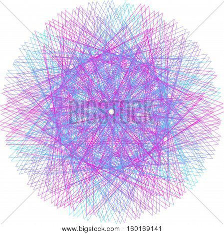 Abstract decorative floral spirograph circular element for design.