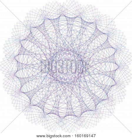 Abstract decorative spirograph circular element for design.