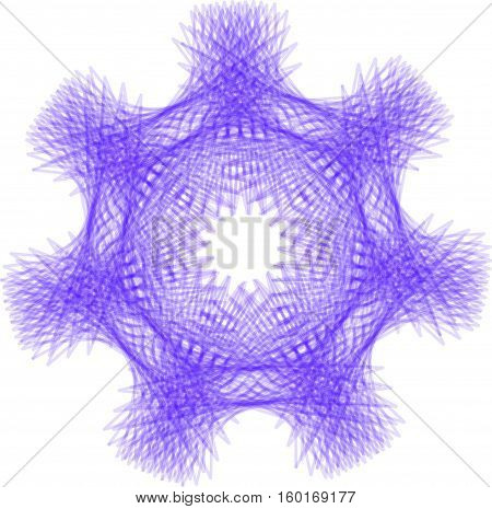 Abstract decorative purple floral spirograph circular element.