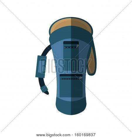 blue backpack hike traveler front view shadow vector illustration eps 10