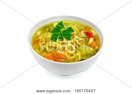 Soup Minestrone In White Bowl With Parsley