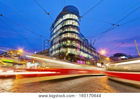 PRAGUE, CZECH REPUBLI C - DEC 6, 2016: modern shopping and offices center Andel, Smichov district in Prague, Czech republic. Architect Jean Nouvel designed office building called Golden Angel here.