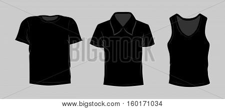 Template t-shirt set. Black color. T-shirt, polo and singlet.