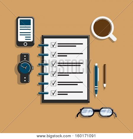 todo list on workplace flat vector illustration