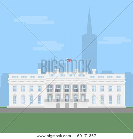The White House in Washington DC. American government, congress. President residence.
