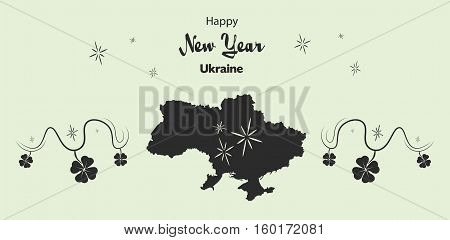 Happy New Year Illustration Theme With Map Of Ukraine