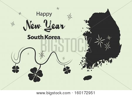 Happy New Year Illustration Theme With Map Of South Korea
