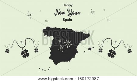 Happy New Year Illustration Theme With Map Of Spain