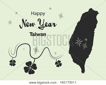 Happy New Year Illustration Theme With Map Of Taiwan