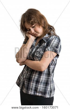 Young Sad And Unhappy Woman Isolated On White Background.