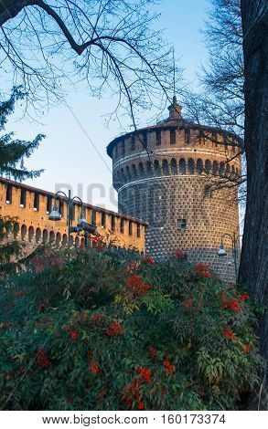 Tower of Holy Spirit Torrione di Santo Spirito), Sforza Castle XV century (Castello Sforzesco). Milan Lombardy Italy, December 30, 2013