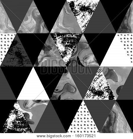 triangle seamless pattern with grunge and watercolor textures. Abstract geometrical background. Marble and scribble textures in monochrome colors. Hand drawn geometric abstract texture