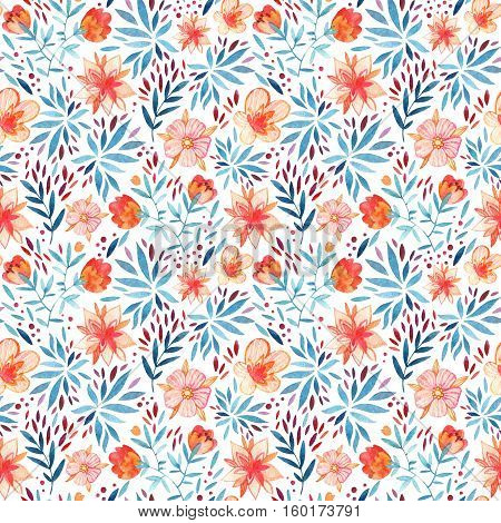 Abstract cute watercolor floral background. Detailed seamless pattern with decorative flowers petals leaves and natural elements. Hand painted delicate floral illustration