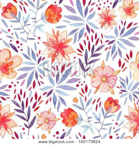 Abstract cute watercolor floral background. Detailed seamless pattern with decorative flowers petals leaves and natural elements. Hand painted delicate floral illustration in vitage colors