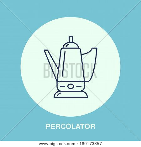 Coffee maker, percolator vector line icon. Barista equipment linear logo. Outline symbol for cafe, bar, shop.