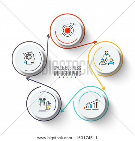 Circles with arrows strokes for infographic. Template for cycle diagram, graph, presentation and chart. Business concept with 5 options, parts, steps or processes. Outline icons.