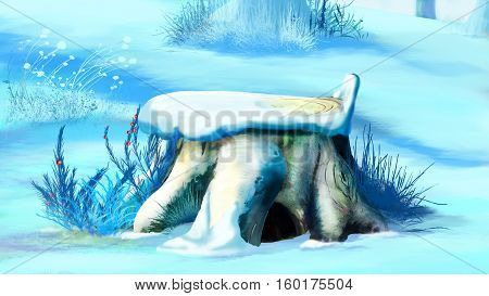 Old Tree Stump Covered with Snow. Handmade illustration in a classic cartoon style.