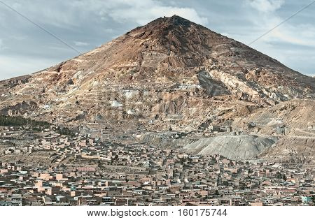 "El Cerro Rico which translates "" the rich hill""  stands above what was once the largest silver deposit in the world. October 9, 2012 - Potosi, Bolivia"