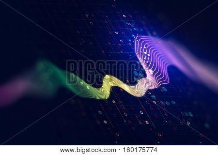 Audio Waveform Abstract Technology Background