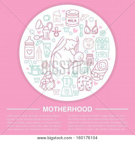 Motherhood poster template. Vector line illustration of breastfeeding, infant food. Nursery element- breast pump, powdered milk, bottle sterilizer, baby formula. Maternity banner design