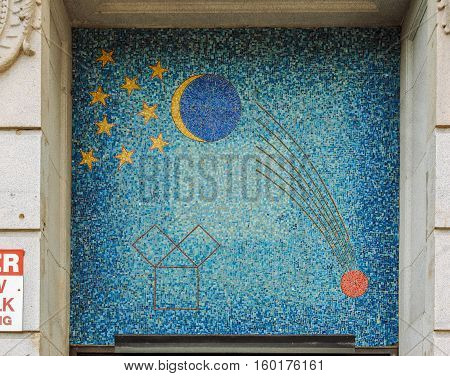 Boston, MA, USA 25 Jul. 2009: One of Facade Building of Grand Lodge of Masons in Massachusetts with stars, moon crescent and falling comet.