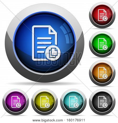 Copy document icons in round glossy buttons with steel frames