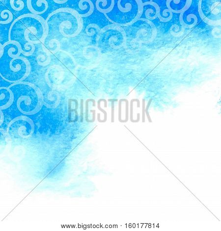 Vector blue watercolor background with floral swirl pattern.