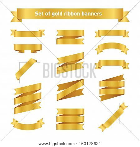 Set of golden ribbon banners. Flat vector gold tape collection. Glossy ribbons isolated on white background. Golden tapes. Label illustration for greeting card gift poster flyer your design.