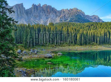 Lake Carezza, Italian Alps, South Tyrol, Dolomites, Italy