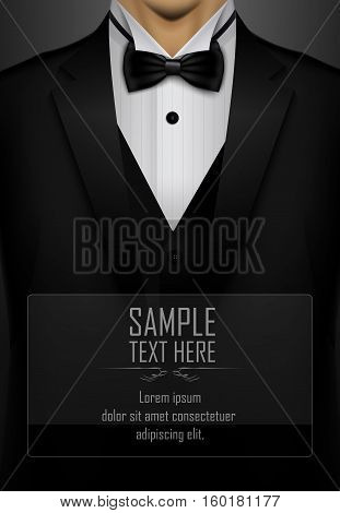Vector illustration of Black tuxedo with black bow tie