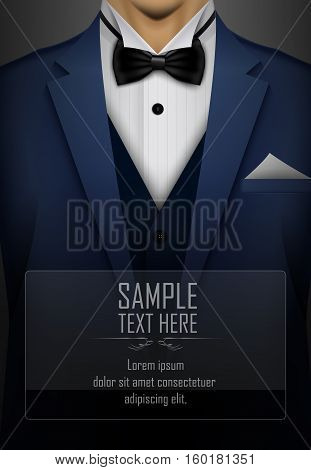 Vector illustration of Blue tuxedo with black bow tie