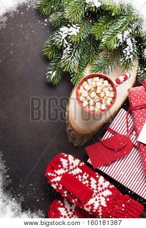 Christmas background with fir tree and hot chocolate with marshmallow. Top view with copy space