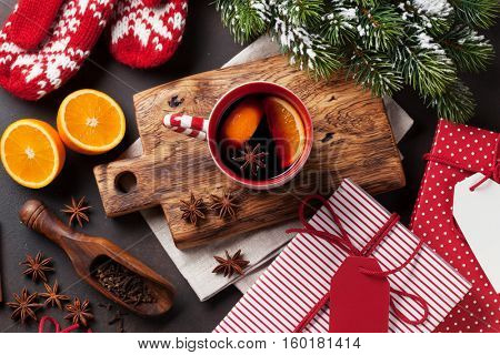 Christmas mulled wine and ingredients. Top view with copyspace