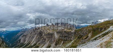 View on mountain peaks,Tre Cime del Lavaredo, Dolomiti, Italy